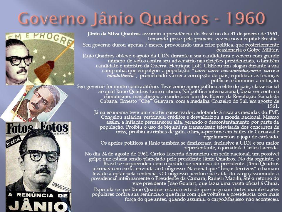 Jânio da Silva Quadros assumiu a presidência do Brasil no dia 31 de janeiro de 1961, tomando posse pela primeira vez na nova capital: Brasília. poster