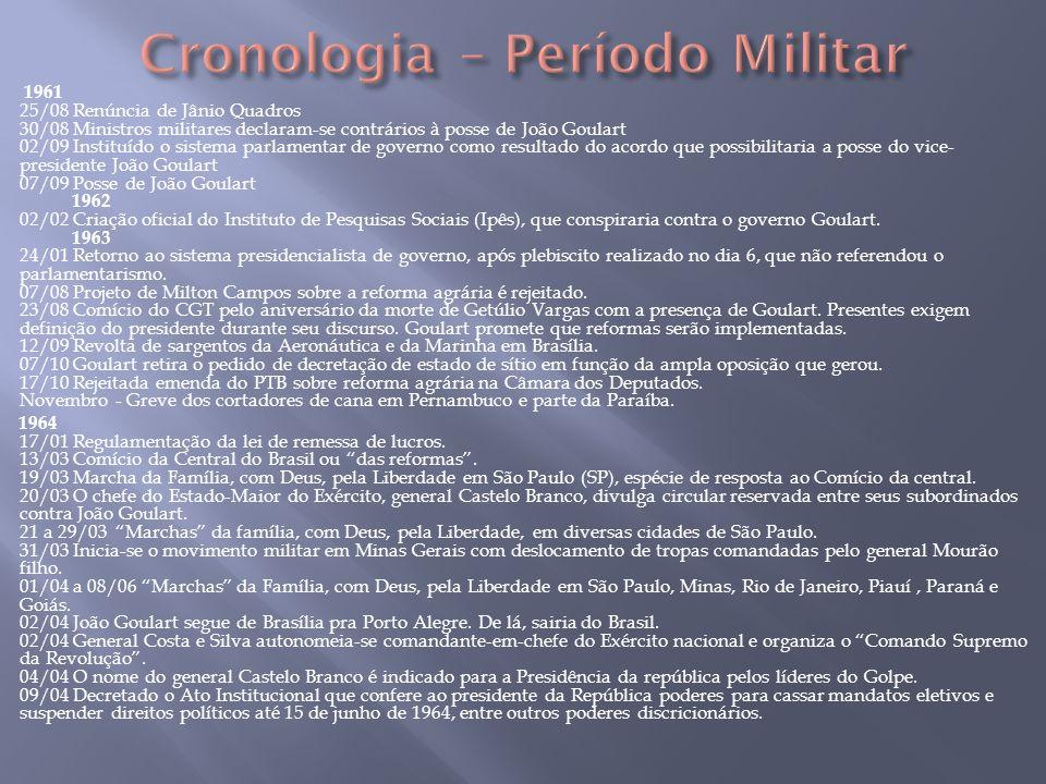 1961 25/08 Renúncia de Jânio Quadros 30/08 Ministros militares declaram-se contrários à posse de João Goulart 02/09 Instituído o sistema parlamentar d