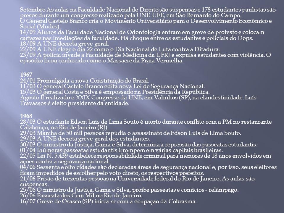 Setembro As aulas na Faculdade Nacional de Direito são suspensas e 178 estudantes paulistas são presos durante um congresso realizado pela UNE-UEE, em