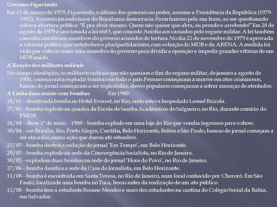 Governo Figueiredo Em 15 de março de 1979, Figueiredo, o último dos generais no poder, assume a Presidência da República (1979- 1985). Assumiu jurando