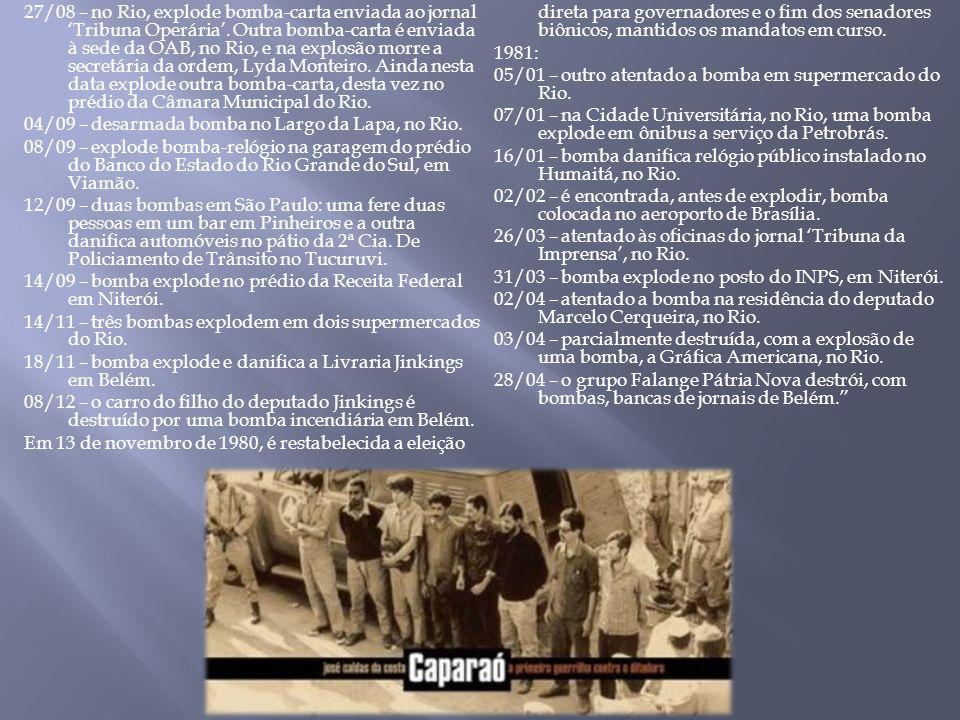 27/08 – no Rio, explode bomba-carta enviada ao jornal Tribuna Operária. Outra bomba-carta é enviada à sede da OAB, no Rio, e na explosão morre a secre