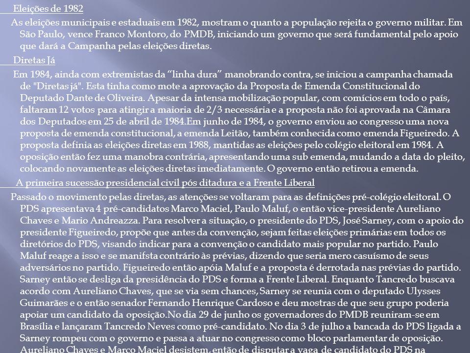 Eleições de 1982 As eleições municipais e estaduais em 1982, mostram o quanto a população rejeita o governo militar. Em São Paulo, vence Franco Montor