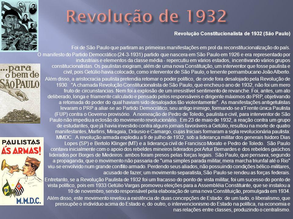 Revolução Constitucionalista de 1932 (São Paulo) Foi de São Paulo que partiram as primeiras manifestações em prol da reconstitucionalização do país. O