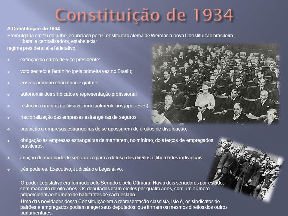 A Constituição de 1934 Promulgada em 16 de julho, enunciada pela Constituição alemã de Weimar, a nova Constituição brasileira, liberal e centralizador