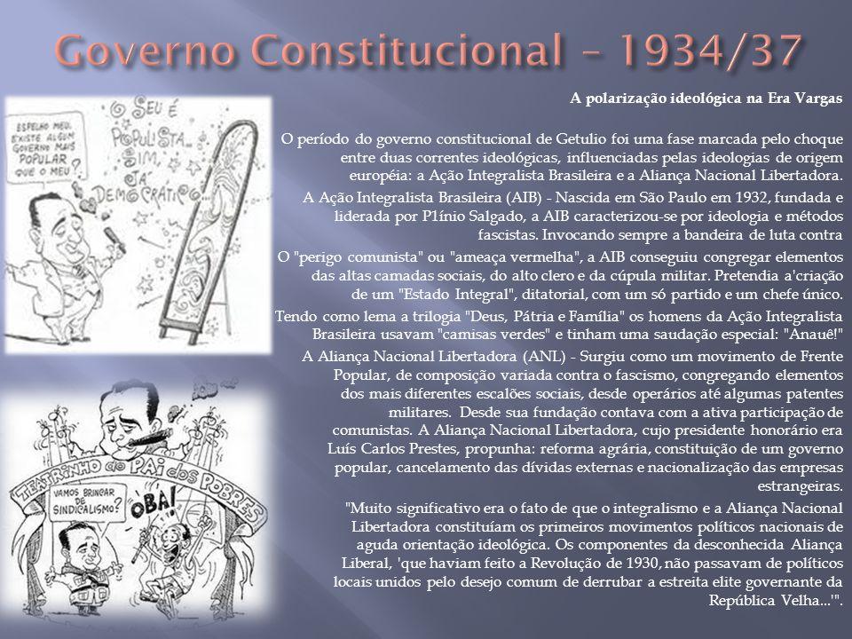 A polarização ideológica na Era Vargas O período do governo constitucional de Getulio foi uma fase marcada pelo choque entre duas correntes ideológica