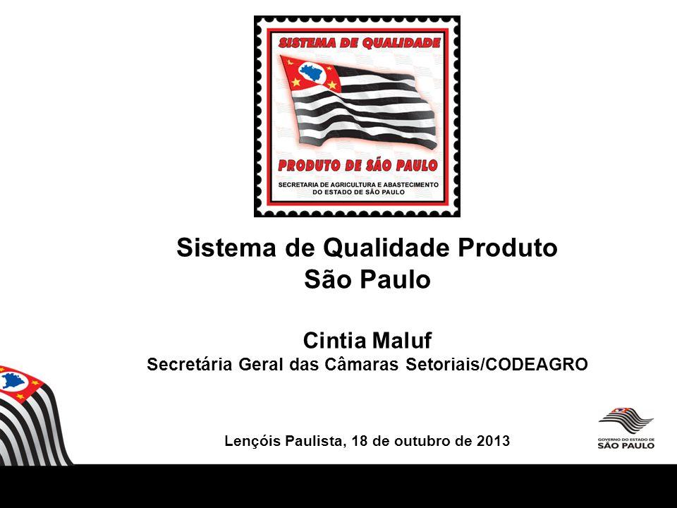 Cintia Maluf Secretária Geral das Câmaras Setoriais/CODEAGRO Lençóis Paulista, 18 de outubro de 2013 Sistema de Qualidade Produto São Paulo