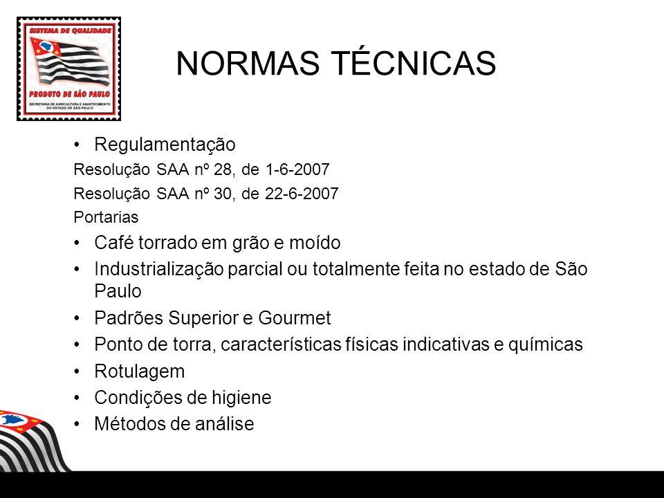 NORMAS TÉCNICAS Regulamentação Resolução SAA nº 28, de 1-6-2007 Resolução SAA nº 30, de 22-6-2007 Portarias Café torrado em grão e moído Industrializa