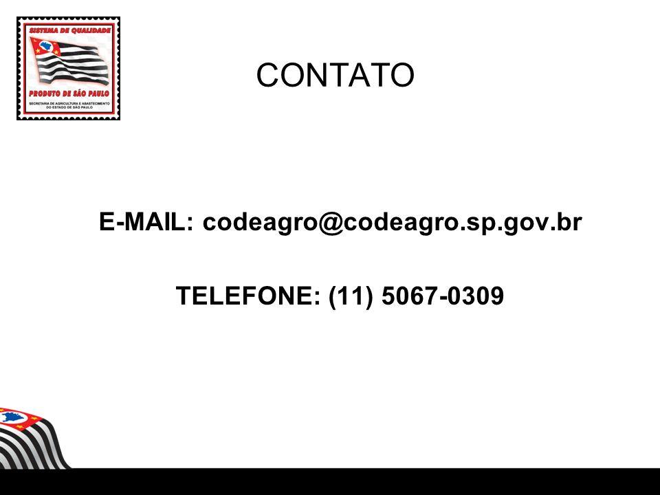 CONTATO E-MAIL: codeagro@codeagro.sp.gov.br TELEFONE: (11) 5067-0309