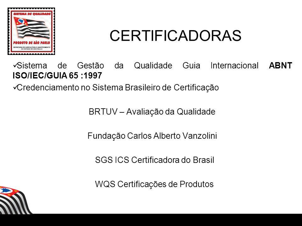 CERTIFICADORAS Sistema de Gestão da Qualidade Guia Internacional ABNT ISO/IEC/GUIA 65 :1997 Credenciamento no Sistema Brasileiro de Certificação BRTUV