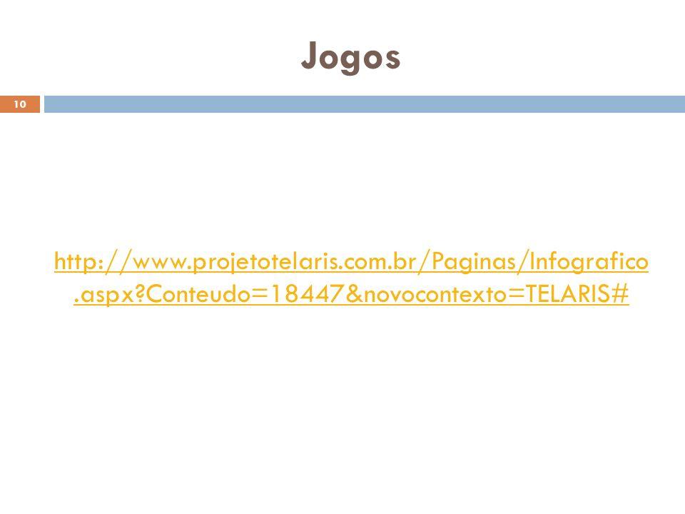 Jogos 10 http://www.projetotelaris.com.br/Paginas/Infografico.aspx?Conteudo=18447&novocontexto=TELARIS#