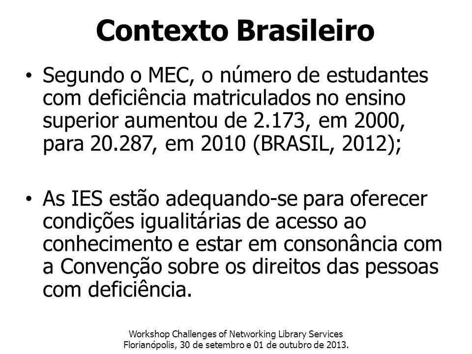 Segundo o MEC, o número de estudantes com deficiência matriculados no ensino superior aumentou de 2.173, em 2000, para 20.287, em 2010 (BRASIL, 2012);