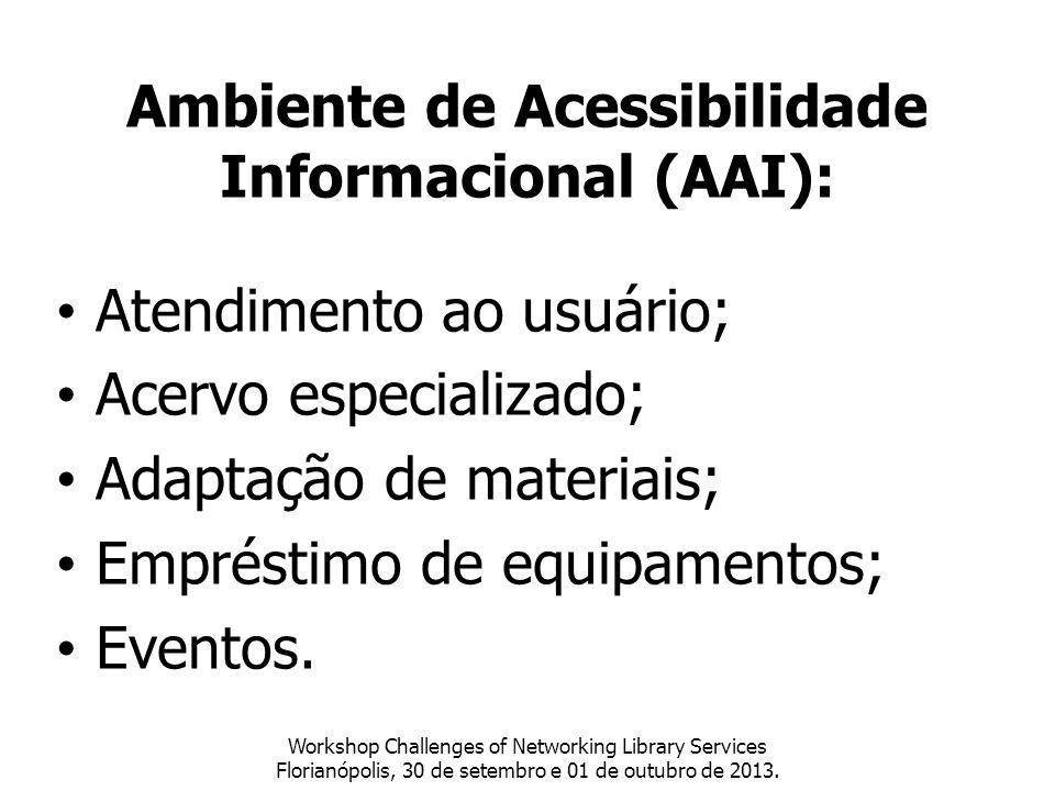 Workshop Challenges of Networking Library Services Florianópolis, 30 de setembro e 01 de outubro de 2013. Ambiente de Acessibilidade Informacional (AA