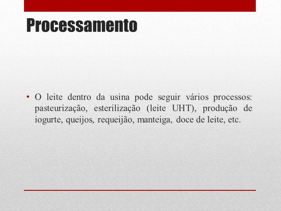 Processamento O leite dentro da usina pode seguir vários processos: pasteurização, esterilização (leite UHT), produção de iogurte, queijos, requeijão, manteiga, doce de leite, etc.