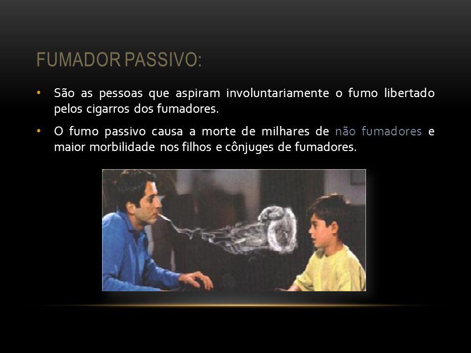 FUMADOR PASSIVO: São as pessoas que aspiram involuntariamente o fumo libertado pelos cigarros dos fumadores. O fumo passivo causa a morte de milhares
