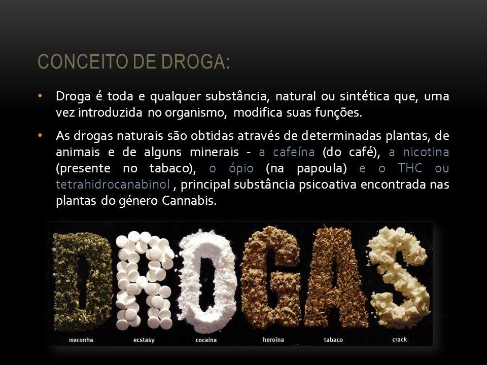 CONCEITO DE DROGA: Droga é toda e qualquer substância, natural ou sintética que, uma vez introduzida no organismo, modifica suas funções. As drogas na