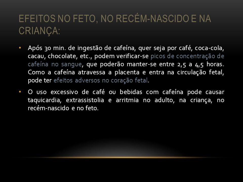 EFEITOS NO FETO, NO RECÉM-NASCIDO E NA CRIANÇA: Após 30 min. de ingestão de cafeína, quer seja por café, coca-cola, cacau, chocolate, etc., podem veri