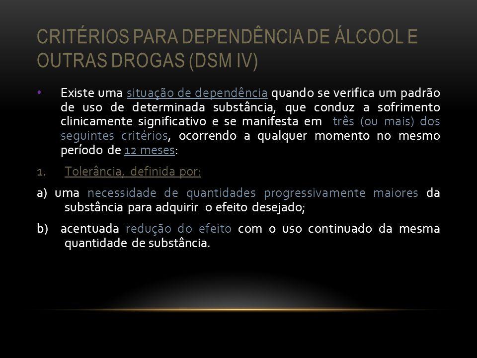 CRITÉRIOS PARA DEPENDÊNCIA DE ÁLCOOL E OUTRAS DROGAS (DSM IV) Existe uma situação de dependência quando se verifica um padrão de uso de determinada su