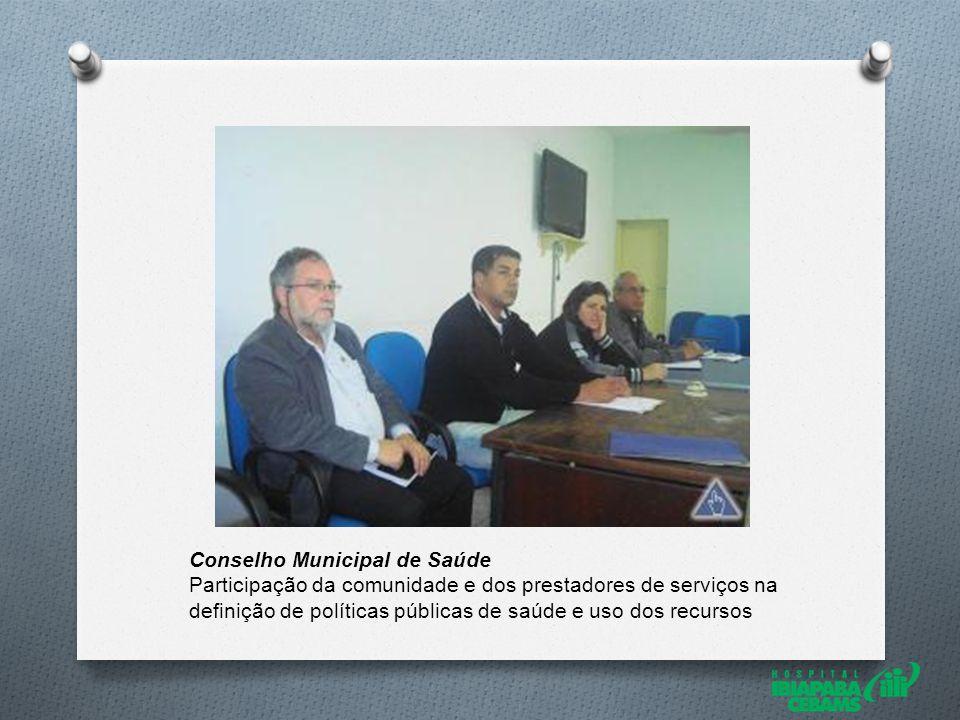 Conselho Municipal de Saúde Participação da comunidade e dos prestadores de serviços na definição de políticas públicas de saúde e uso dos recursos