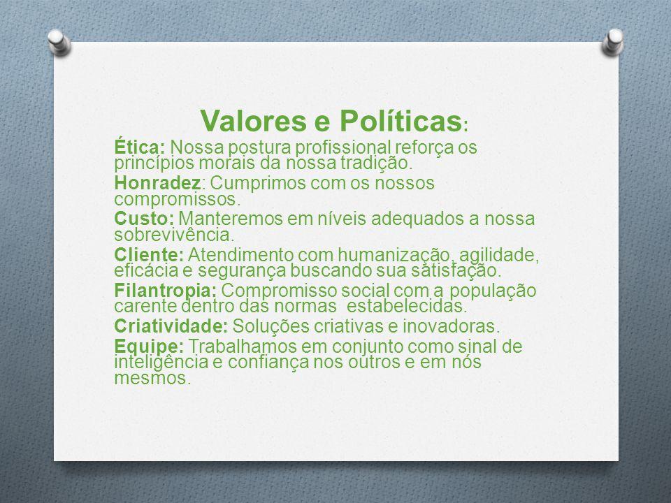 Valores e Políticas : Ética: Nossa postura profissional reforça os princípios morais da nossa tradição.
