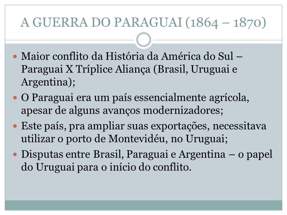 A GUERRA DO PARAGUAI (1864 – 1870) Maior conflito da História da América do Sul – Paraguai X Tríplice Aliança (Brasil, Uruguai e Argentina); O Paragua