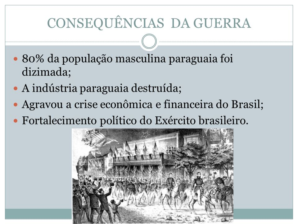 CONSEQUÊNCIAS DA GUERRA 80% da população masculina paraguaia foi dizimada; A indústria paraguaia destruída; Agravou a crise econômica e financeira do