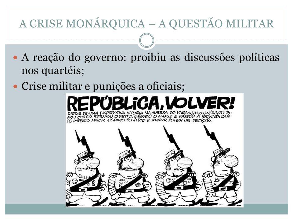 A CRISE MONÁRQUICA – A QUESTÃO MILITAR A reação do governo: proibiu as discussões políticas nos quartéis; Crise militar e punições a oficiais;