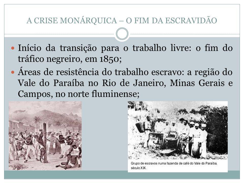 A CRISE MONÁRQUICA – O FIM DA ESCRAVIDÃO Início da transição para o trabalho livre: o fim do tráfico negreiro, em 1850; Áreas de resistência do trabal