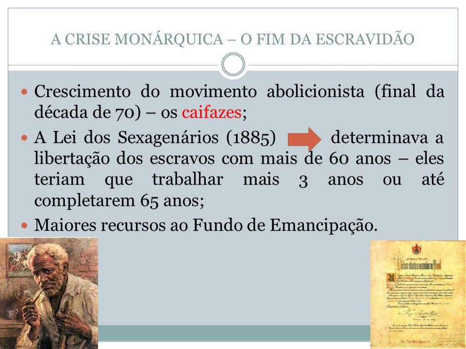 A CRISE MONÁRQUICA – O FIM DA ESCRAVIDÃO Crescimento do movimento abolicionista (final da década de 70) – os caifazes; A Lei dos Sexagenários (1885) d