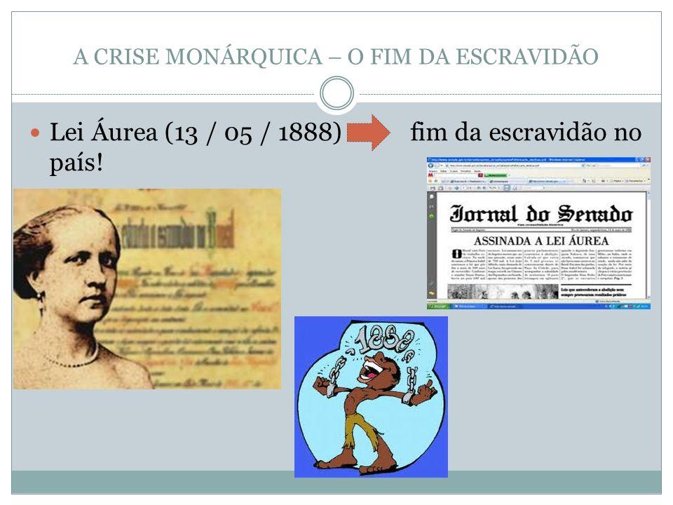 A CRISE MONÁRQUICA – O FIM DA ESCRAVIDÃO Lei Áurea (13 / 05 / 1888) fim da escravidão no país!