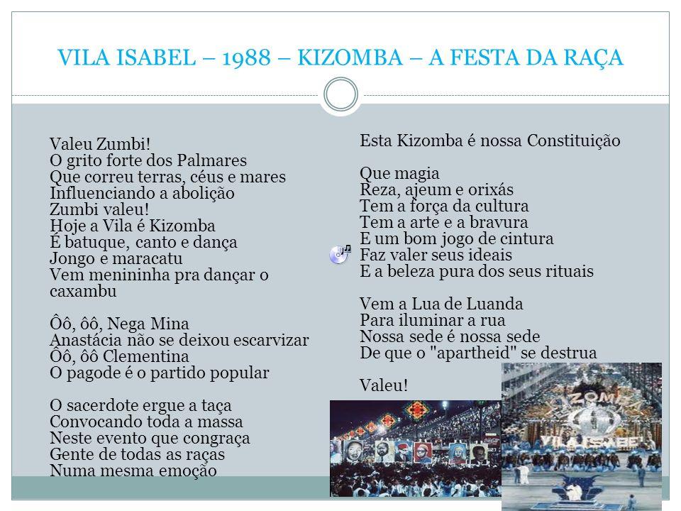 VILA ISABEL – 1988 – KIZOMBA – A FESTA DA RAÇA Valeu Zumbi! O grito forte dos Palmares Que correu terras, céus e mares Influenciando a abolição Zumbi