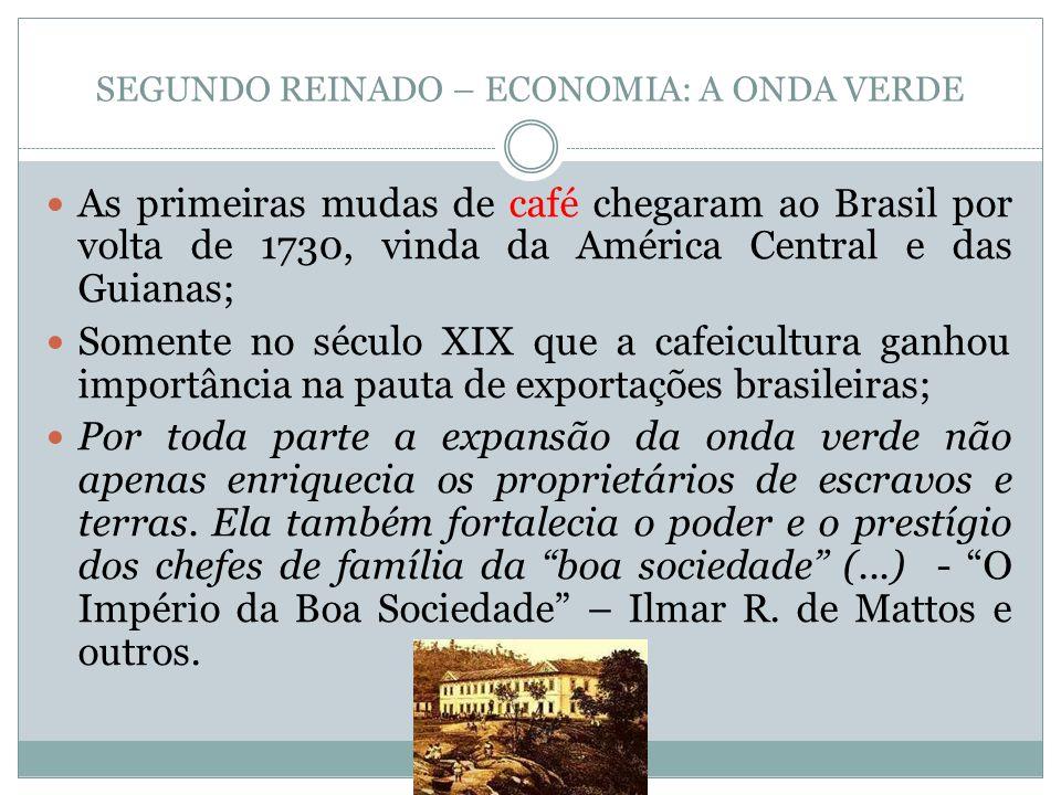 SEGUNDO REINADO – ECONOMIA: A ONDA VERDE As primeiras mudas de café chegaram ao Brasil por volta de 1730, vinda da América Central e das Guianas; Some