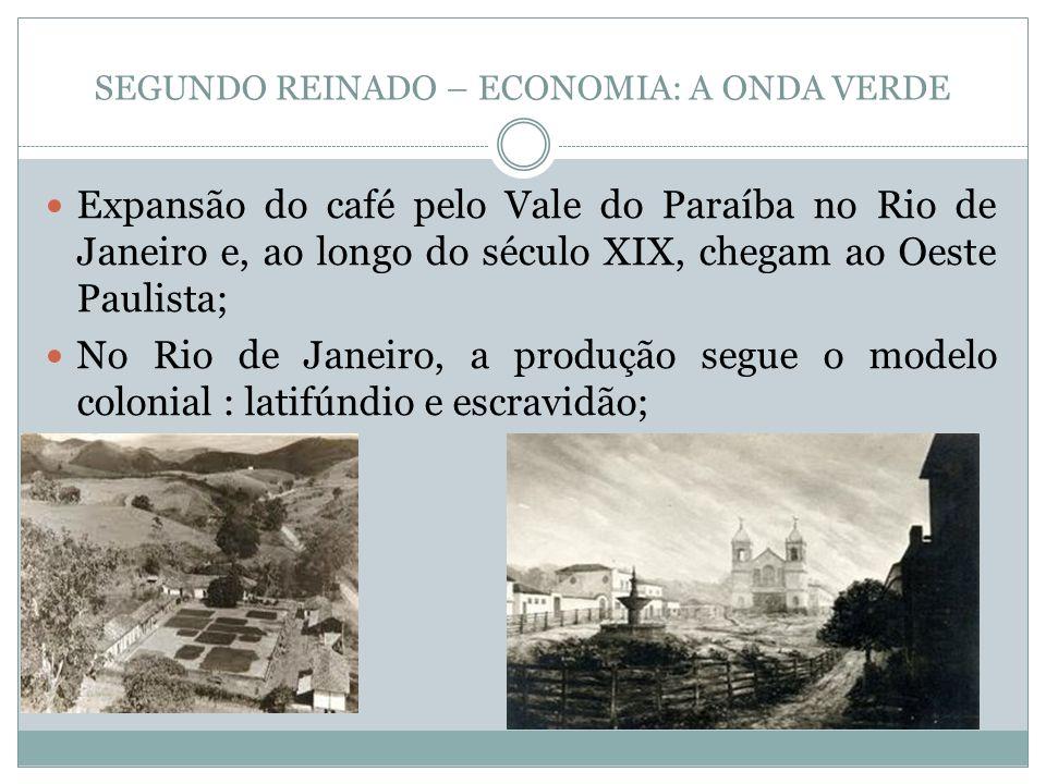 Expansão do café pelo Vale do Paraíba no Rio de Janeiro e, ao longo do século XIX, chegam ao Oeste Paulista; No Rio de Janeiro, a produção segue o mod