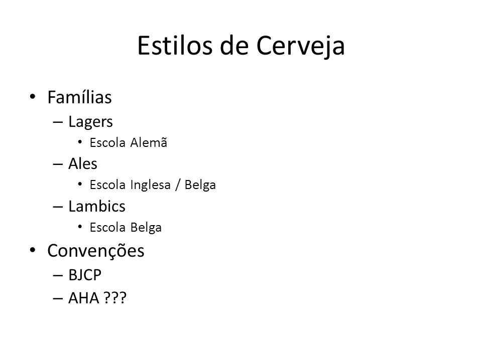 Famílias – Lagers Escola Alemã – Ales Escola Inglesa / Belga – Lambics Escola Belga Convenções – BJCP – AHA ??? Estilos de Cerveja