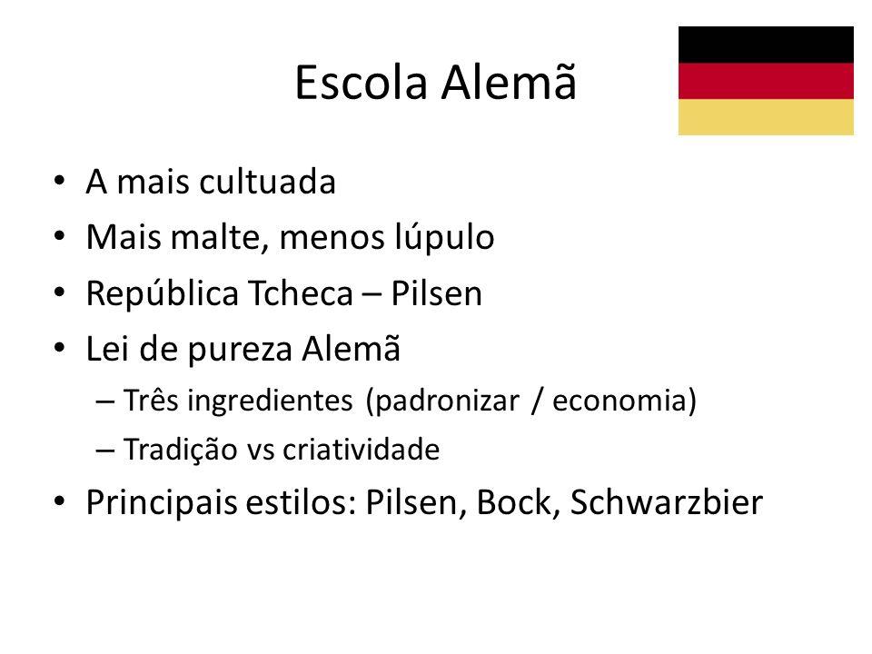 Escola Alemã A mais cultuada Mais malte, menos lúpulo República Tcheca – Pilsen Lei de pureza Alemã – Três ingredientes (padronizar / economia) – Trad
