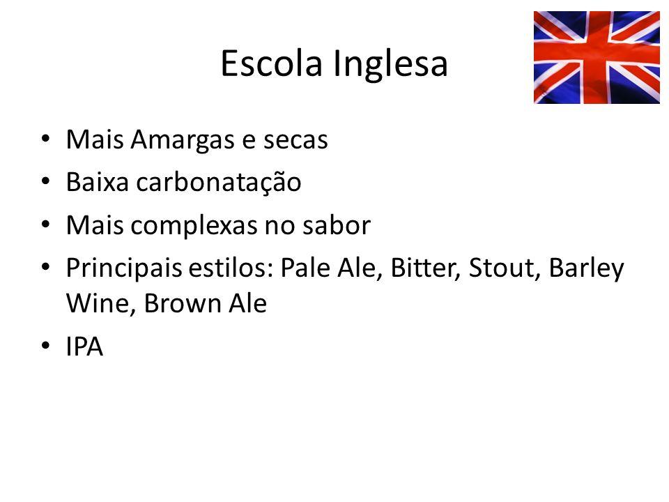 Escola Inglesa Mais Amargas e secas Baixa carbonatação Mais complexas no sabor Principais estilos: Pale Ale, Bitter, Stout, Barley Wine, Brown Ale IPA