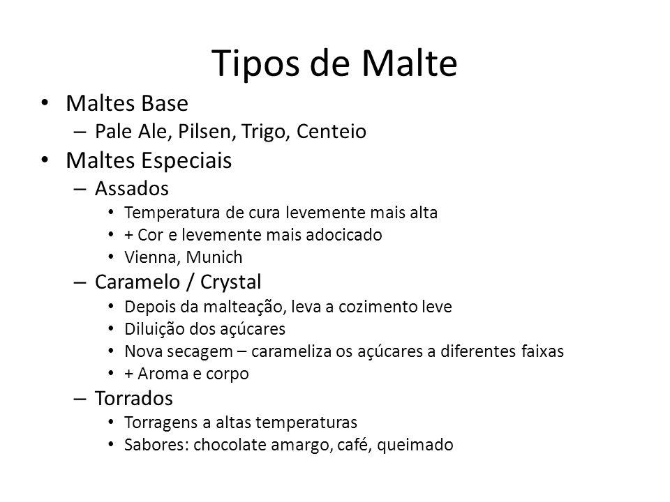 Maltes Base – Pale Ale, Pilsen, Trigo, Centeio Maltes Especiais – Assados Temperatura de cura levemente mais alta + Cor e levemente mais adocicado Vie
