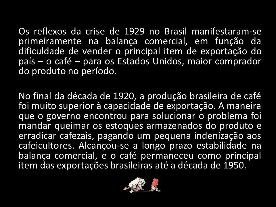 Os reflexos da crise de 1929 no Brasil manifestaram-se primeiramente na balança comercial, em função da dificuldade de vender o principal item de expo