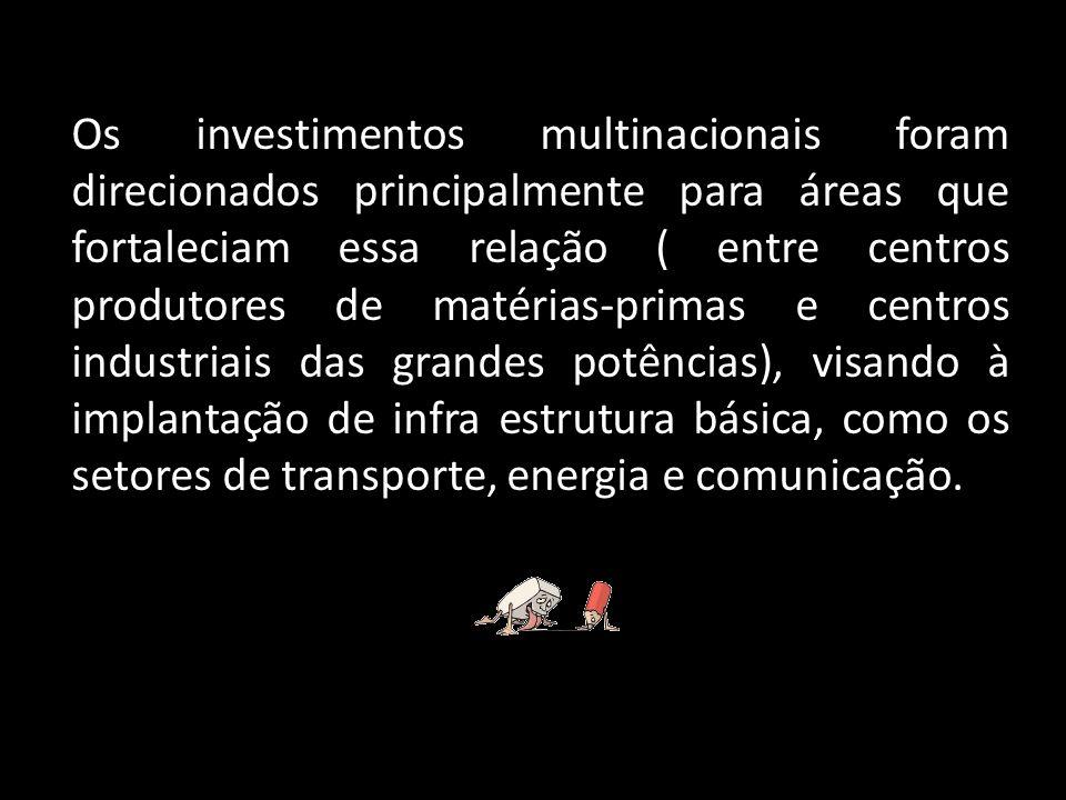 Os investimentos realizados pelos grandes conglomerados buscavam principalmente estimular a exploração das matérias-primas nos centros produtores ou encarregavam-se de fornecê-las para as potências voltadas à industrialização.