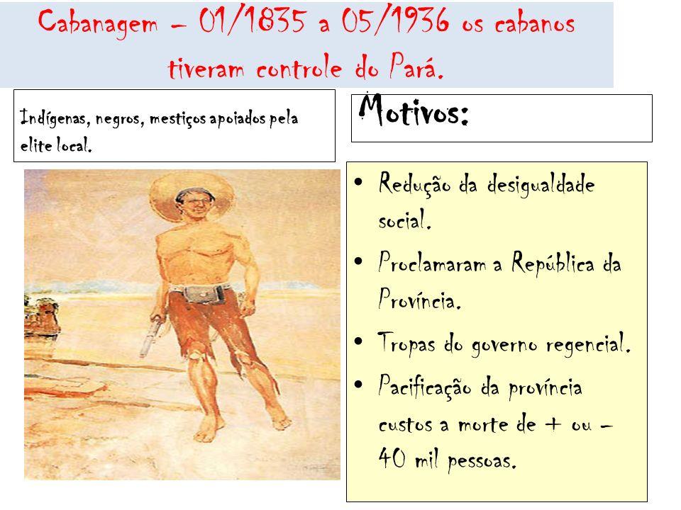Cabanagem – 01/1835 a 05/1936 os cabanos tiveram controle do Pará. Indígenas, negros, mestiços apoiados pela elite local. Motivos: Redução da desigual