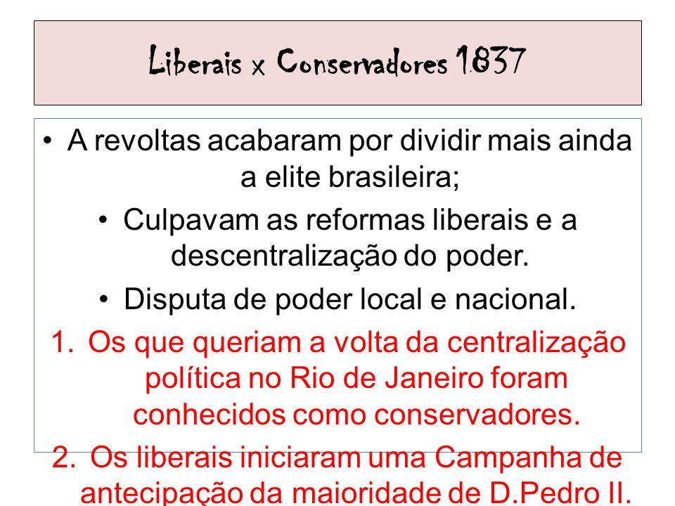 Liberais x Conservadores 1837 A revoltas acabaram por dividir mais ainda a elite brasileira; Culpavam as reformas liberais e a descentralização do pod