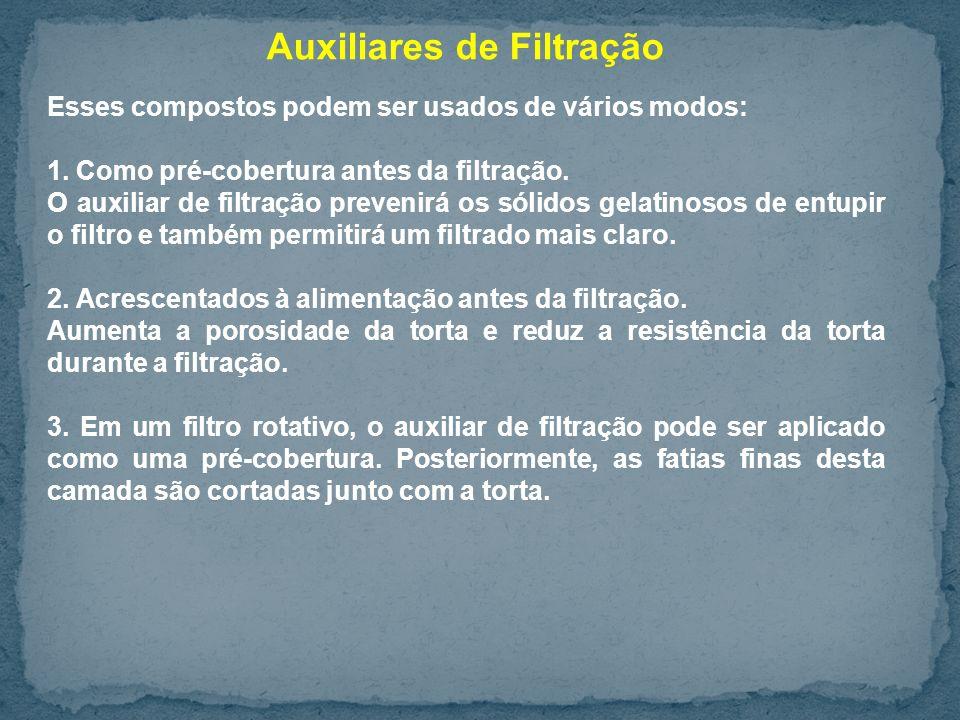 Auxiliares de Filtração Esses compostos podem ser usados de vários modos: 1.