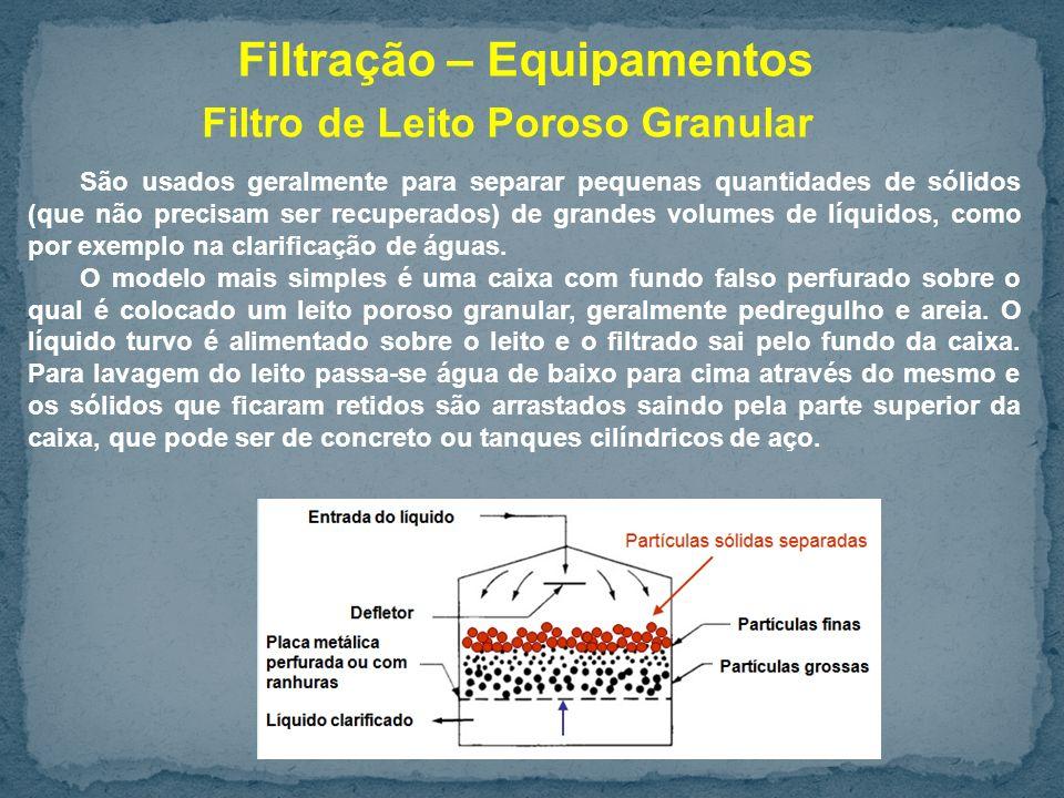 Filtro de Leito Poroso Granular São usados geralmente para separar pequenas quantidades de sólidos (que não precisam ser recuperados) de grandes volumes de líquidos, como por exemplo na clarificação de águas.