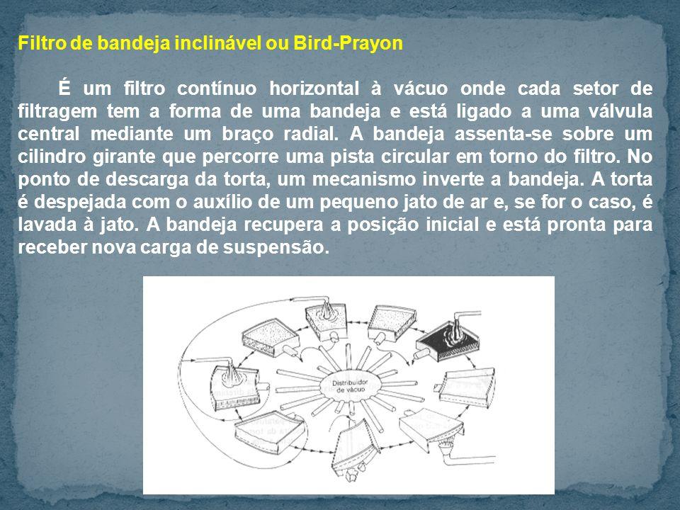Filtro de bandeja inclinável ou Bird-Prayon É um filtro contínuo horizontal à vácuo onde cada setor de filtragem tem a forma de uma bandeja e está ligado a uma válvula central mediante um braço radial.