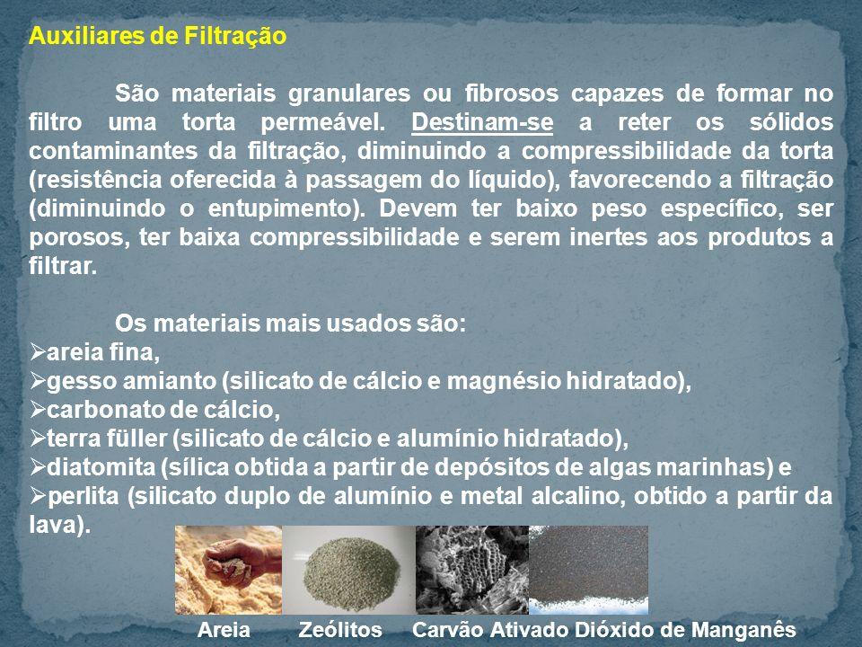 Auxiliares de Filtração São materiais granulares ou fibrosos capazes de formar no filtro uma torta permeável.