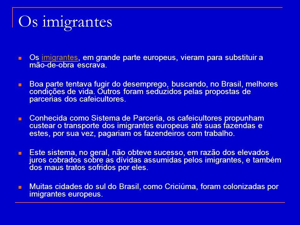 Os imigrantes Os imigrantes, em grande parte europeus, vieram para substituir a mão-de-obra escrava.imigrantes Boa parte tentava fugir do desemprego,