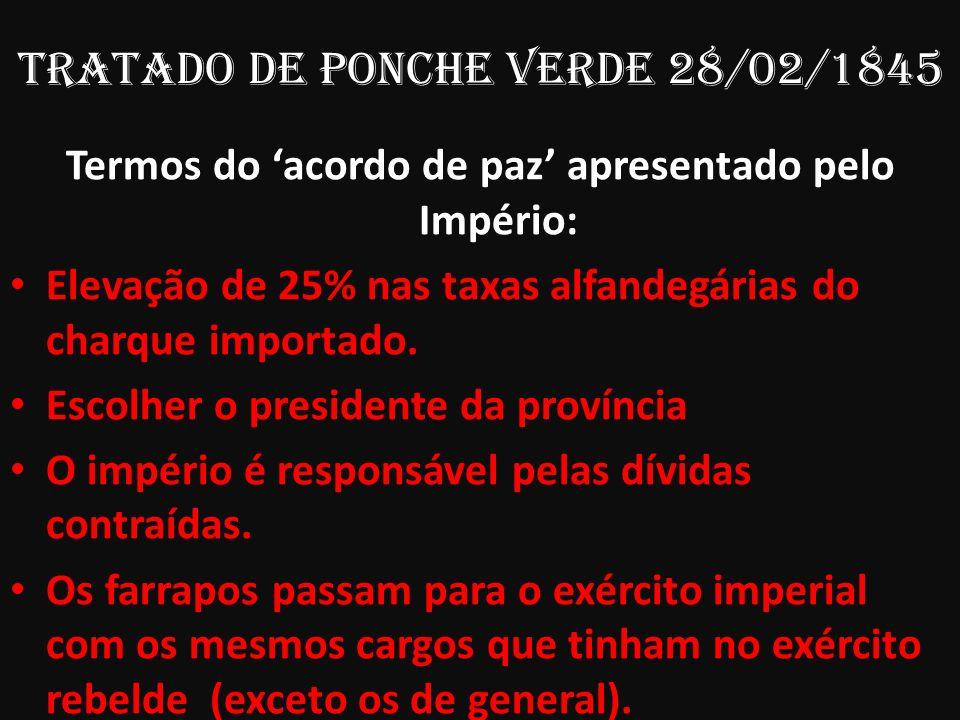 TRATADO De Ponche Verde 28/02/1845 Termos do acordo de paz apresentado pelo Império: Elevação de 25% nas taxas alfandegárias do charque importado. Esc