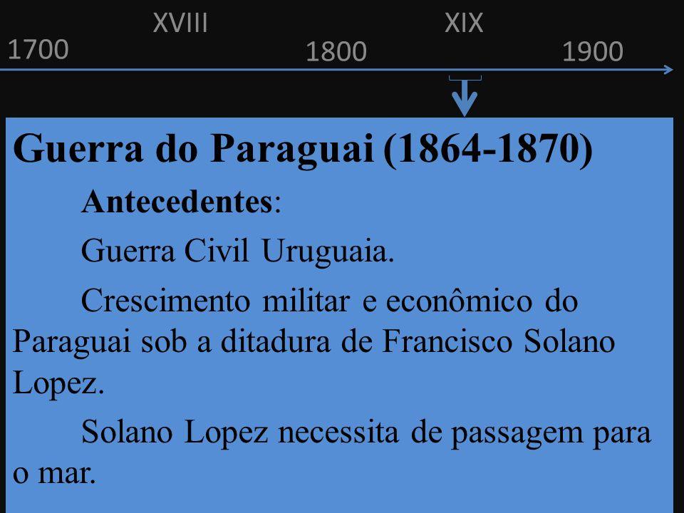 1700 1800 Guerra do Paraguai (1864-1870) Antecedentes: Guerra Civil Uruguaia. Crescimento militar e econômico do Paraguai sob a ditadura de Francisco