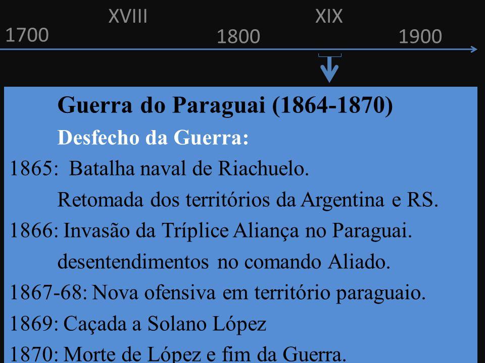 1700 1800 Guerra do Paraguai (1864-1870) Desfecho da Guerra: 1865: Batalha naval de Riachuelo. Retomada dos territórios da Argentina e RS. 1866: Invas