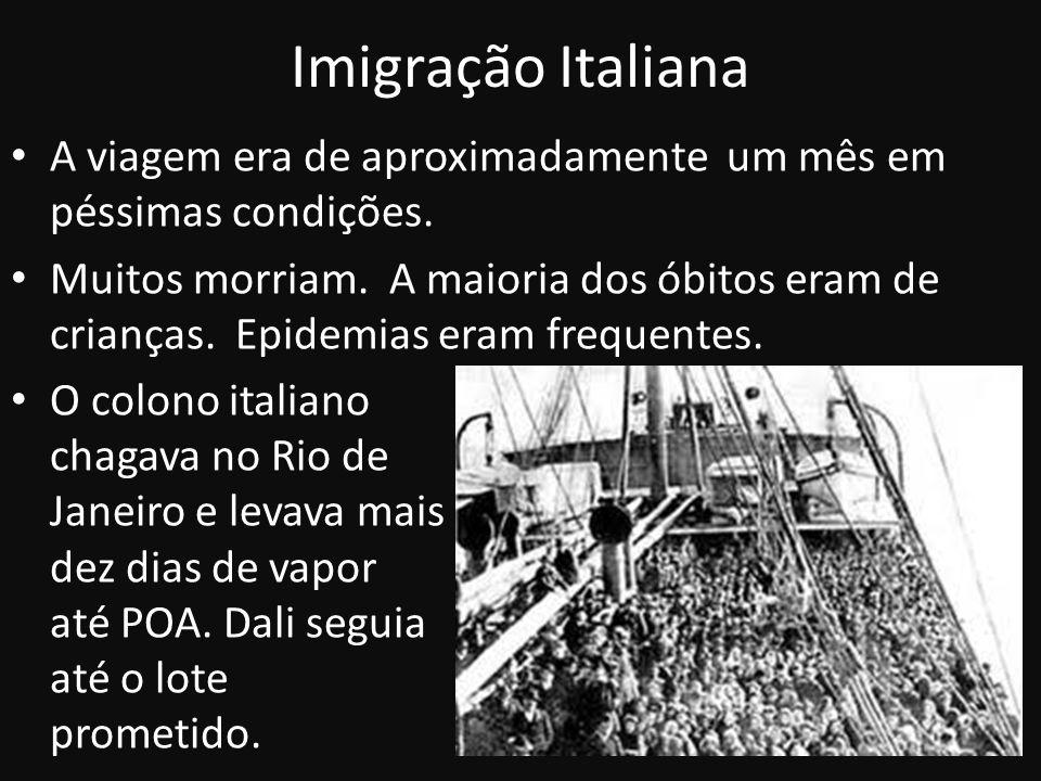 Imigração Italiana A viagem era de aproximadamente um mês em péssimas condições. Muitos morriam. A maioria dos óbitos eram de crianças. Epidemias eram