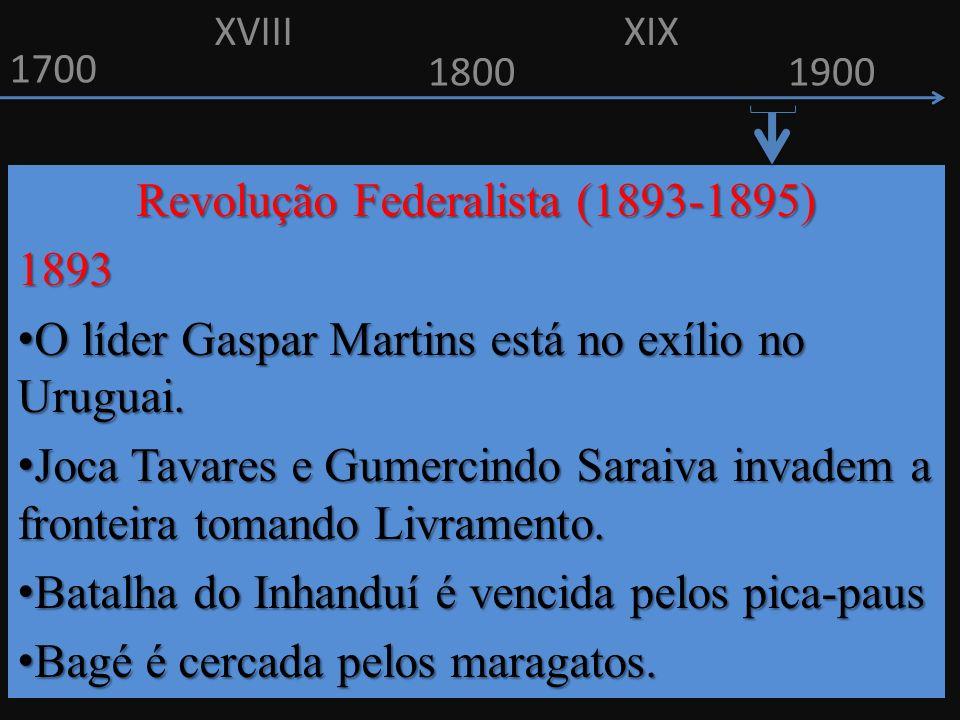 1700 1800 Revolução Federalista (1893-1895) 1893 O líder Gaspar Martins está no exílio no Uruguai. O líder Gaspar Martins está no exílio no Uruguai. J